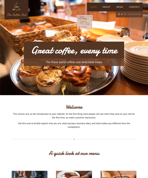 Coffee Shop InstantSite template
