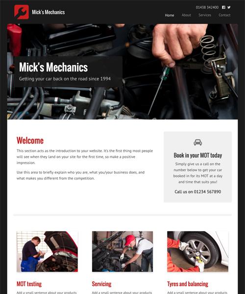 Mechanic InstantSite template