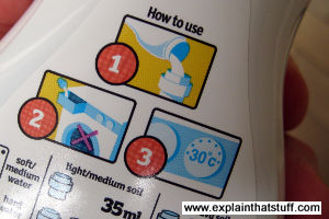 A laundry detergent bottle encouraging users to wash at 30 degrees C