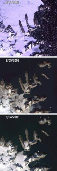 Satellite evidence of global warming: Landsat image of thawing islands photographed in 1985, 2002, and 2005