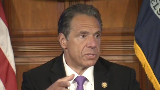 New York Governor Andrew Cuomo speaks to reporters after meeting with President Trump in Washington
