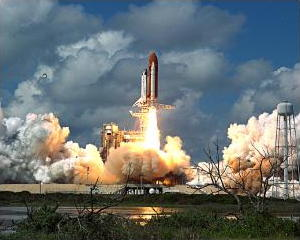 Photo of Space Shuttle launch in 1988 by NASA
