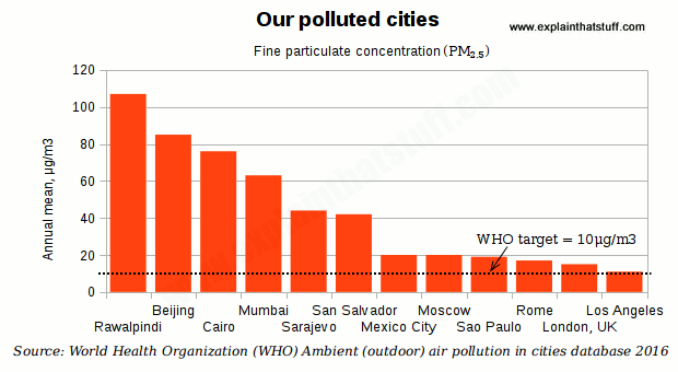 Bar chart comparing mean PM2.5 particulate levels in 10 major world cities with the WHO air quality guideline.