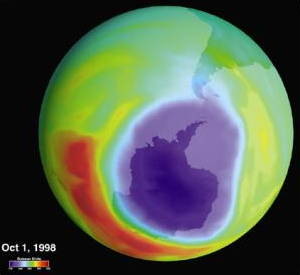 Hole in the ozone layer 1998. Picture by NASA